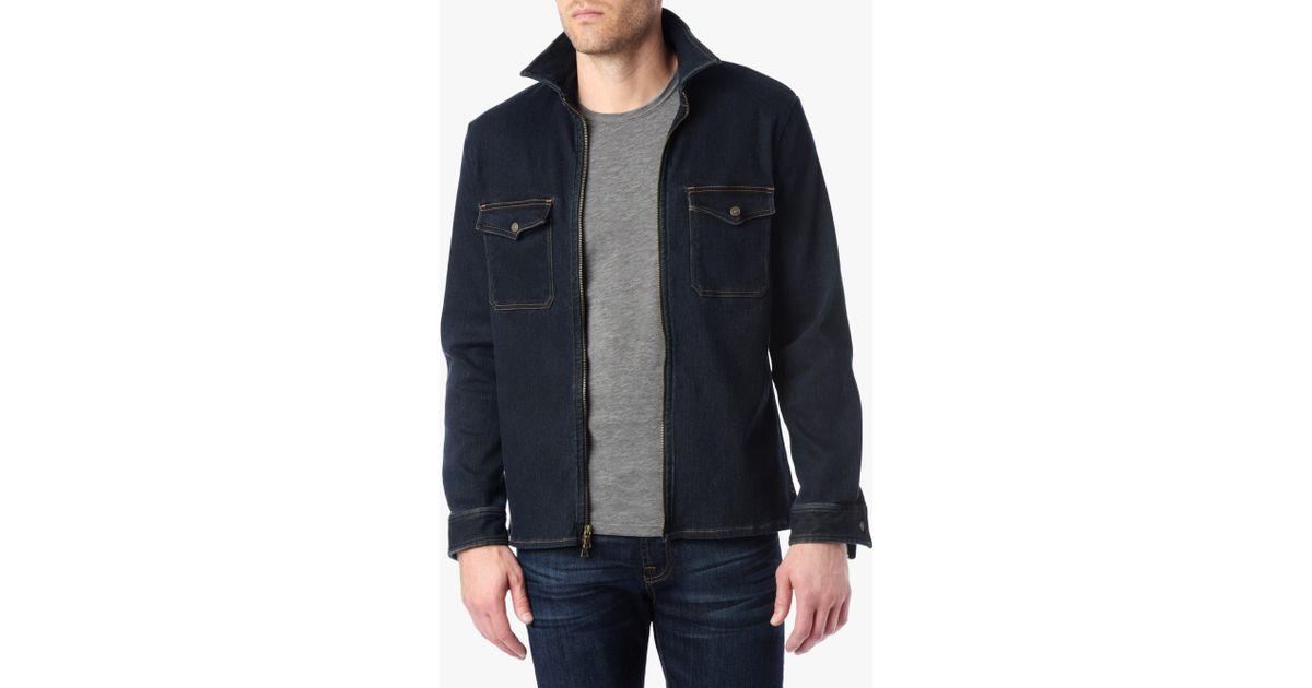 c1db1e9dd Lyst - 7 For All Mankind Mélange Denim Shirt Jacket In Indigo in ...