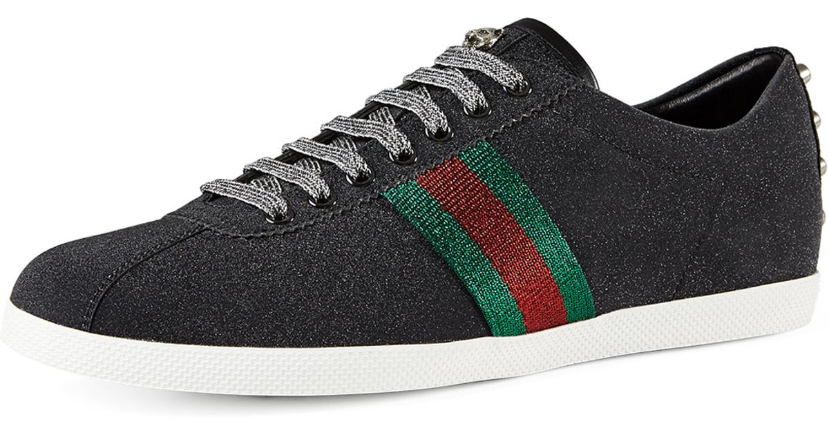 61f6d279d88af Lyst - Gucci Bambi Web Low-top Sneaker With Stud Detail in Black for Men