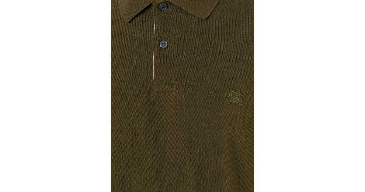Burberry brit embroidered logo polo shirt in green for men for Burberry brit green plaid shirt