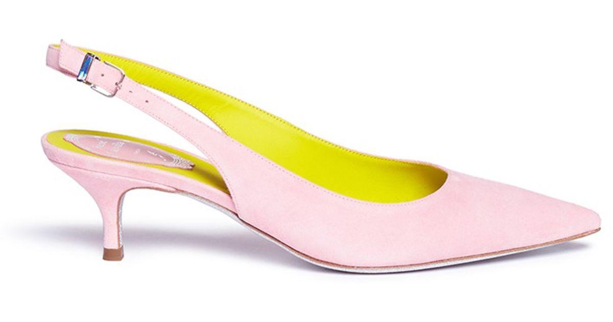 e8fe034046a Lyst - Rene Caovilla Kitten Heel Slingback Suede Pumps in Pink