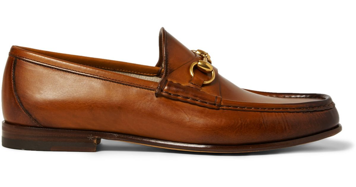 39fc47478 Brown Horsebit Loafers For Lyst Gucci In Men Burnished Leather nqwxH4p1B