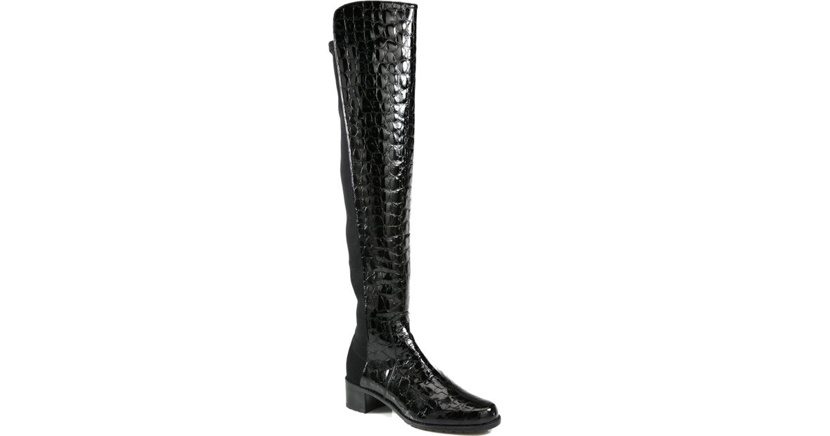 c0913434191 Lyst - Stuart Weitzman Reserve Crocodile-print Patent Leather Boots in Black