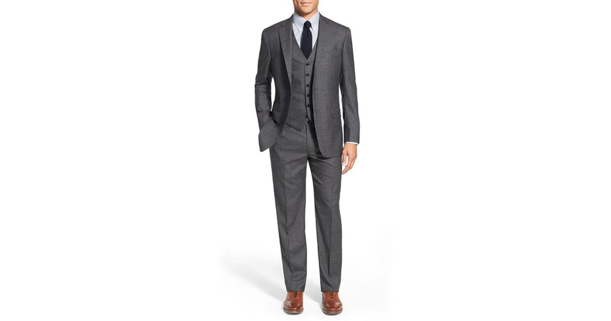 9c727d92ab8 Hart Schaffner Marx  new York  Classic Fit Solid Wool Three-piece Suit in  Gray for Men - Lyst