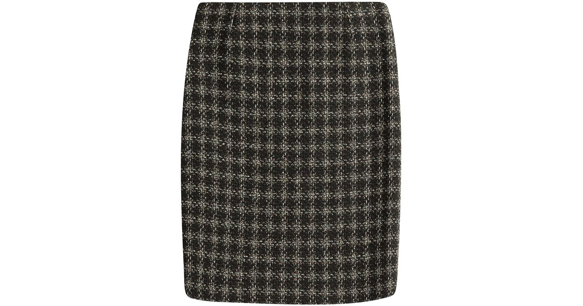 lyst sonia rykiel wool blend plaid skirt in black. Black Bedroom Furniture Sets. Home Design Ideas
