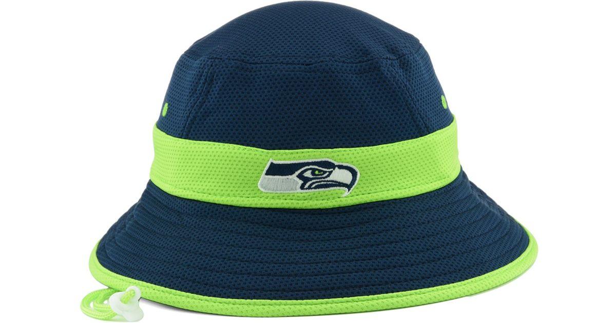 48c0b53066469b Lyst - KTZ Seattle Seahawks Training Camp Reverse Bucket Hat in Blue for Men