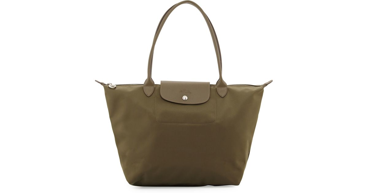 0c8df702cad9 Lyst - Longchamp Le Pliage Neo Large Nylon Shoulder Tote Bag in Green