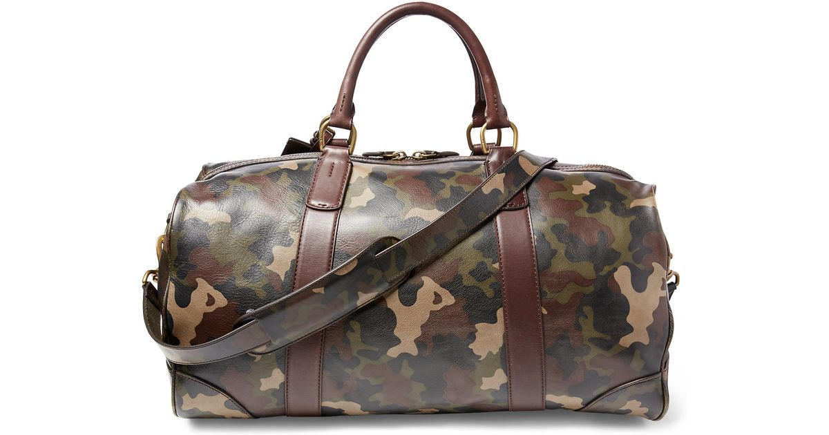 205dc6921e Lyst - Polo Ralph Lauren Camouflage Leather Duffel Bag in Gray for Men