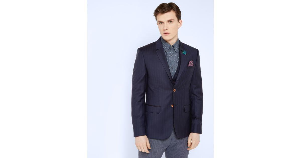 808abf34b Lyst - Ted Baker Tight Lines Herringbone Wool Jacket in Blue for Men