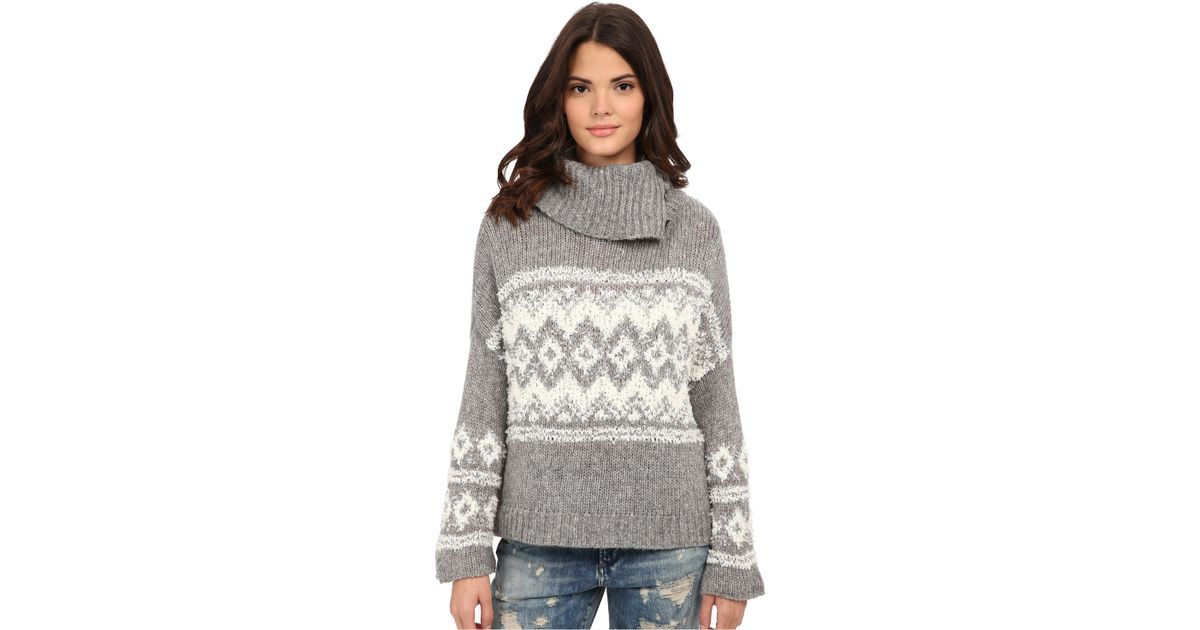 Lyst - Free people Fairisle Ragnar Split Neck Pullover in Gray