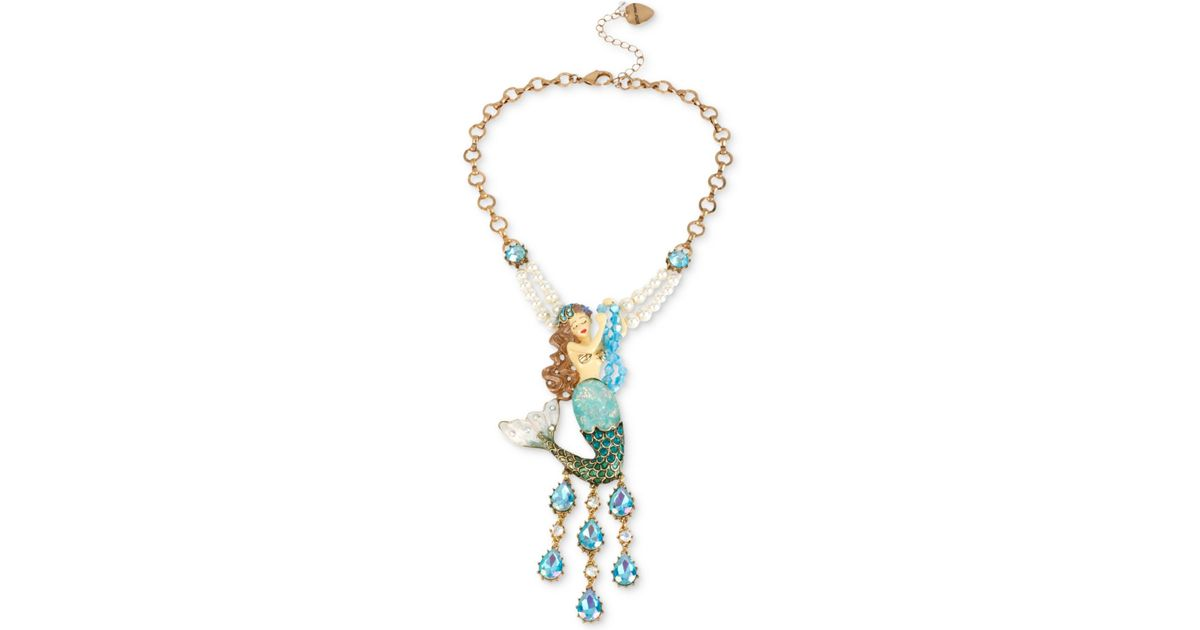 Lyst betsey johnson gold tone large mermaid pendant necklace in blue aloadofball Gallery
