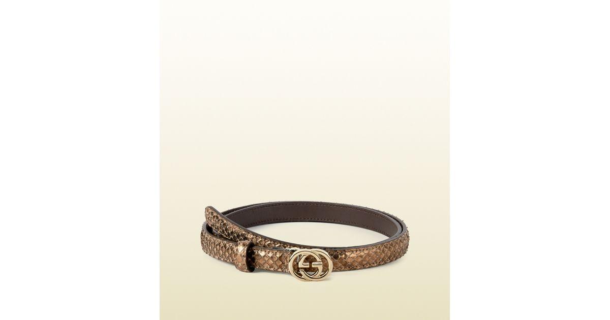 8d9ec4394 Gucci Python Skinny Belt With Interlocking G Buckle in Metallic - Lyst