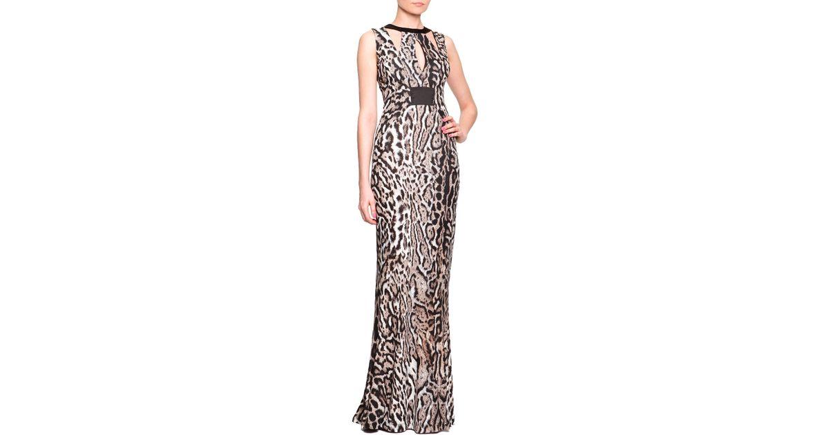 Lyst - Just Cavalli Harness Cutout Animal-Print Gown