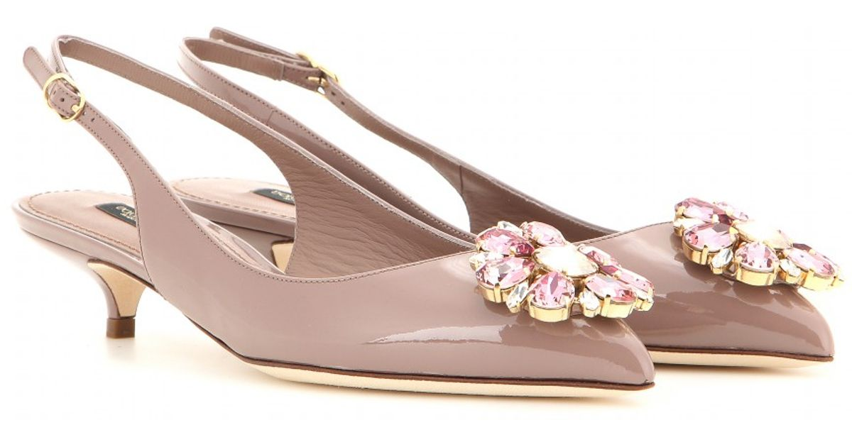 f7815b0f8c6 Lyst - Dolce   Gabbana Bellucci Embellished Patent Leather Slingback Pumps  in Pink
