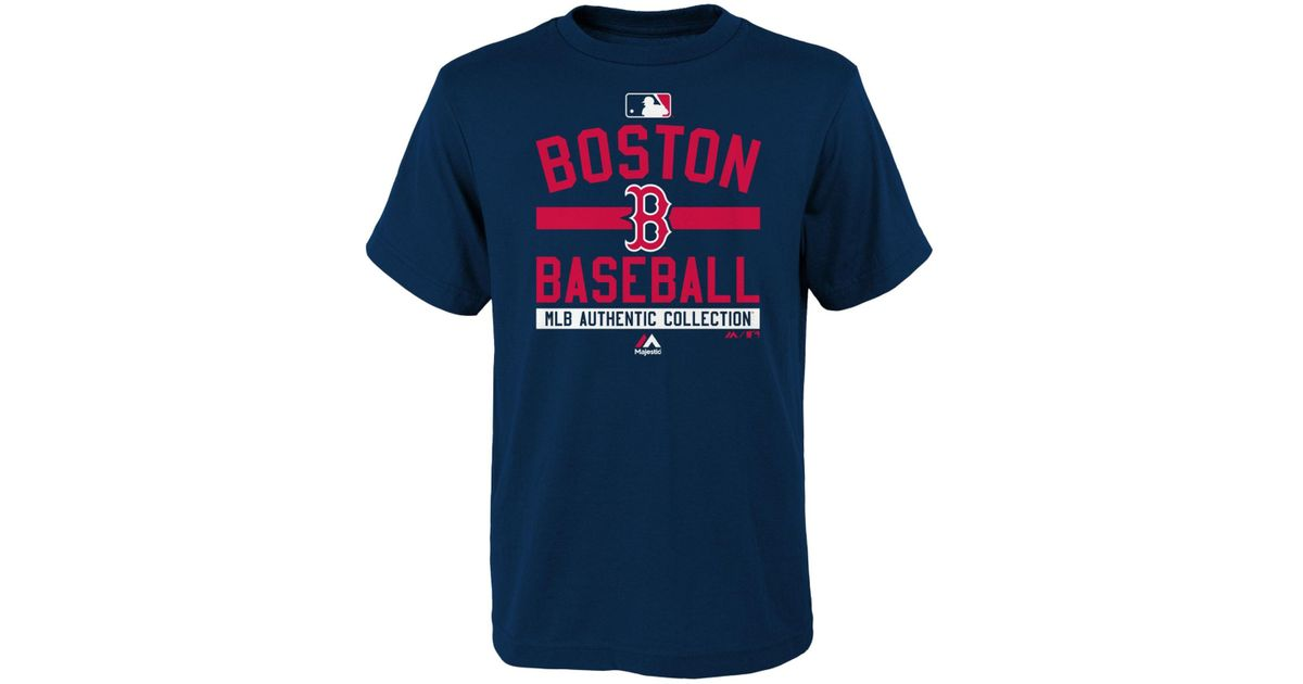 low priced 4b8c9 d5e50 Majestic - Blue Boys' Boston Red Sox On Field Property T-shirt for Men -  Lyst