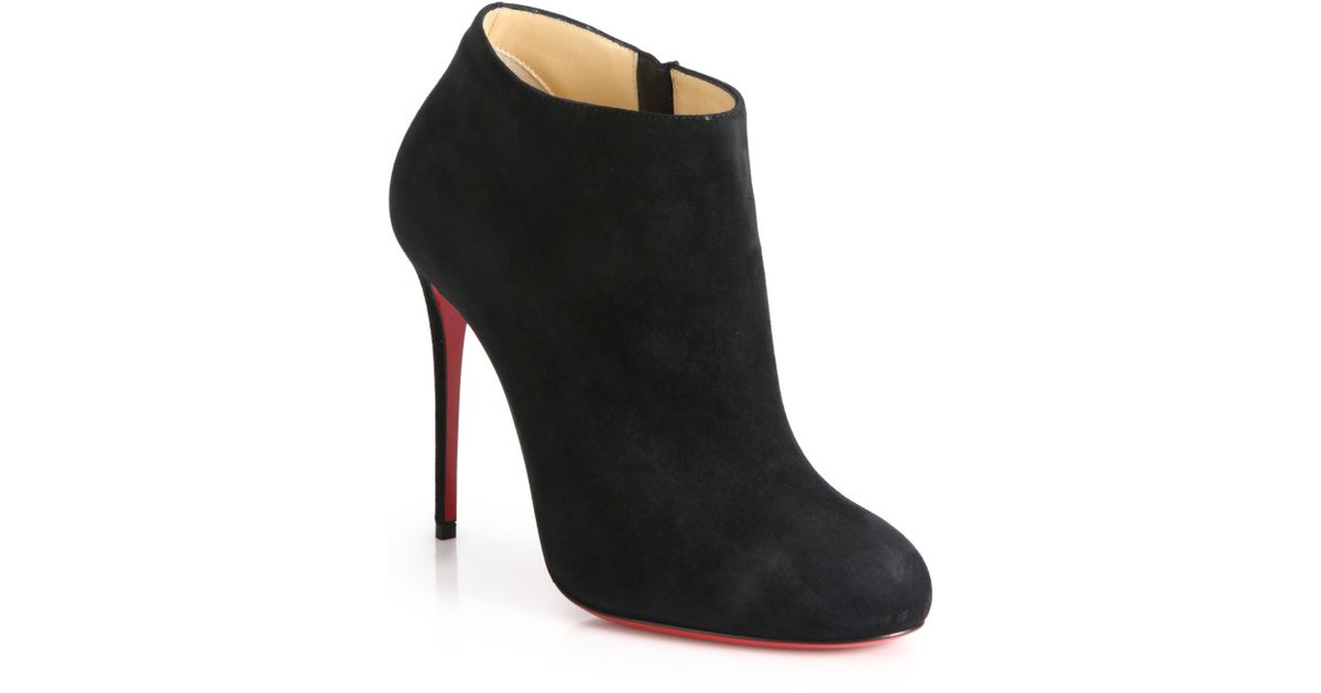 black spiked louis vuitton shoes - Christian louboutin Bellissima Suede Booties in Black | Lyst