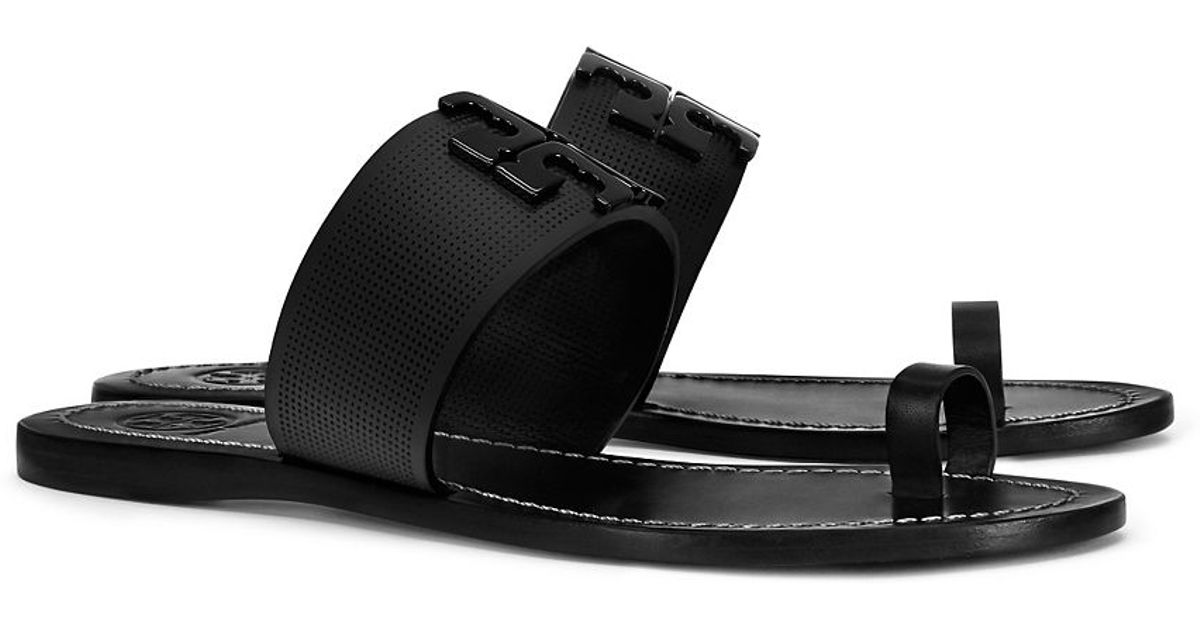 4c8c32204fa4d Lyst - Tory Burch Lowell Perforated Toe-ring Slide in Black