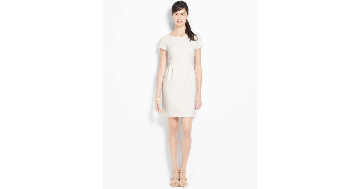 baf5699dc0 Ann Taylor Doubleweave Button Back Dress in White - Lyst