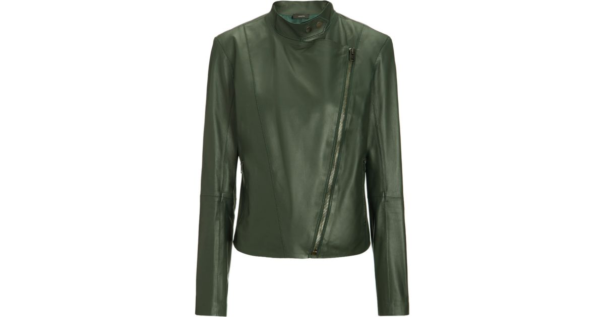 889814740 JOSEPH Nappa Leather New Alpha Jacket In Forest in Green - Lyst
