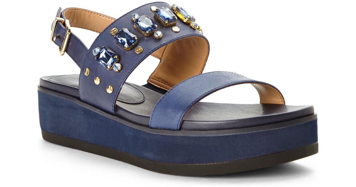 a82a457124257f Lyst - Isaac Mizrahi New York Navy Bling Slingback Platform Sandals in Blue
