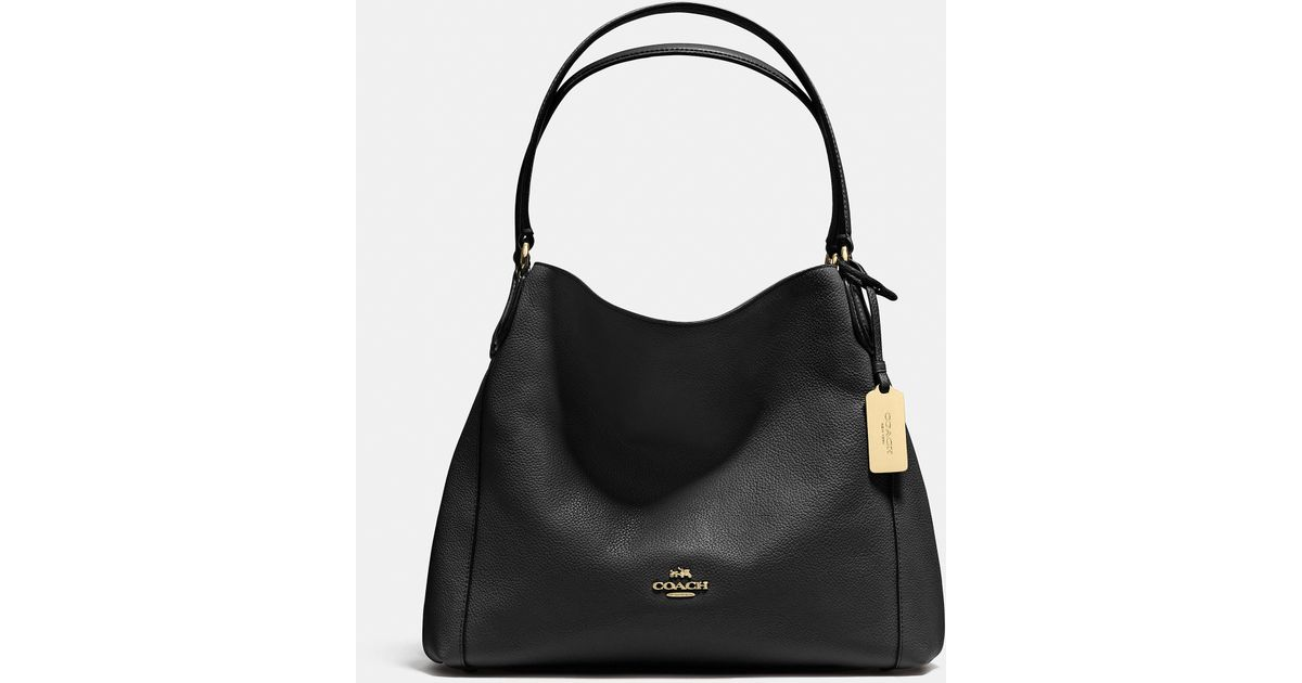 Lyst - COACH Edie Shoulder Bag 31 In Refined Pebble Leather in Black 176dd0df5fd89