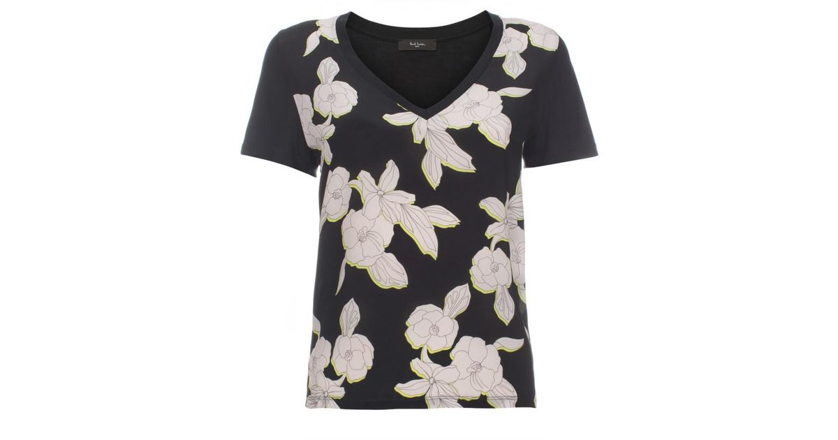 Paul Smith Women 39 S Black Jersey And Silk T Shirt With