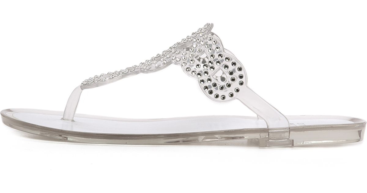 32372310c Lyst - Stuart Weitzman Mermaid Jelly Thong Sandals - Clear