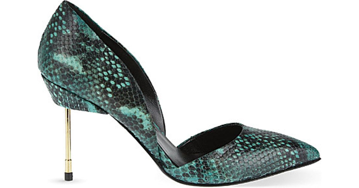 6334b9e33d88 Kurt Geiger Beaumont Printed Leather Court Shoes in Green - Lyst