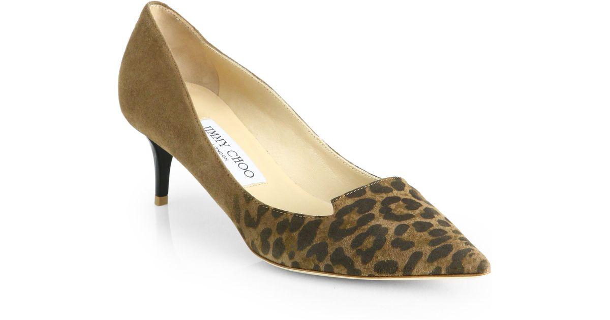 f472304f327 Lyst - Jimmy Choo Allure Leopard Suede Kitten Heel Pumps