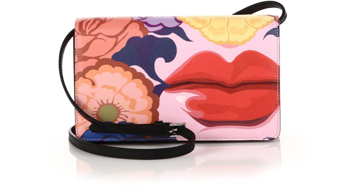 Prada Saffiano Lips-print Crossbody Bag in Multicolor (black-multi ...