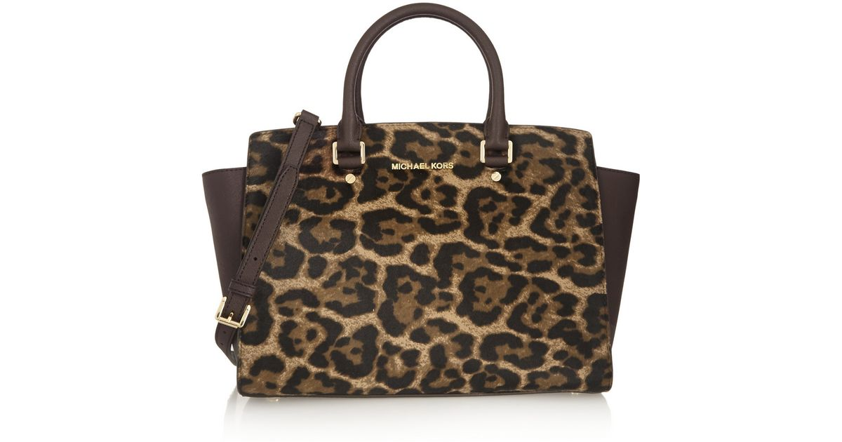 5f5f344ed8fa MICHAEL Michael Kors Selma Large Leopard-Print Calf Hair And  Textured-Leather Tote in Brown - Lyst