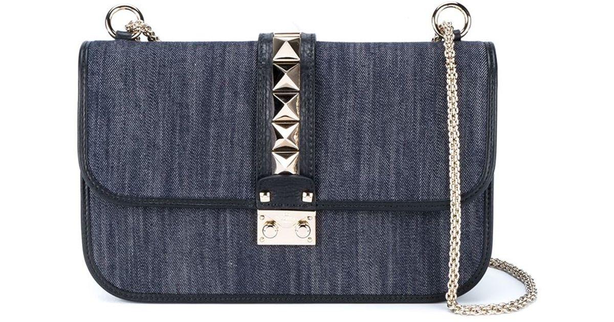739377a41378 Lyst - Valentino  glam Lock  Denim Shoulder Bag in Blue