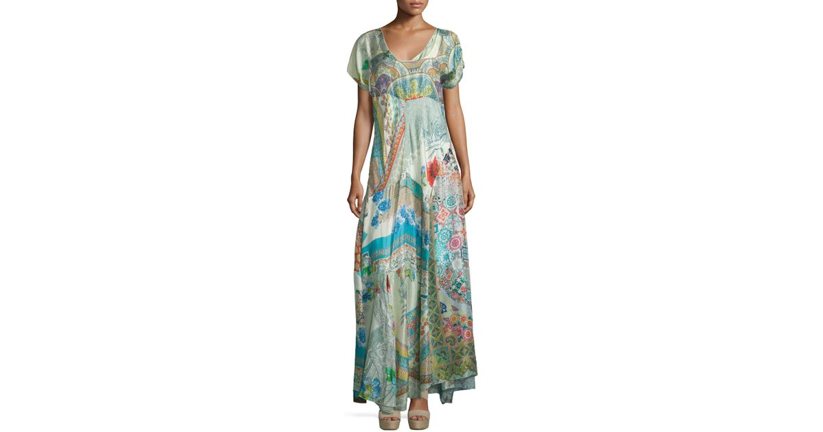 Johnny Was Leyla Short-sleeve Printed Maxi Dress In