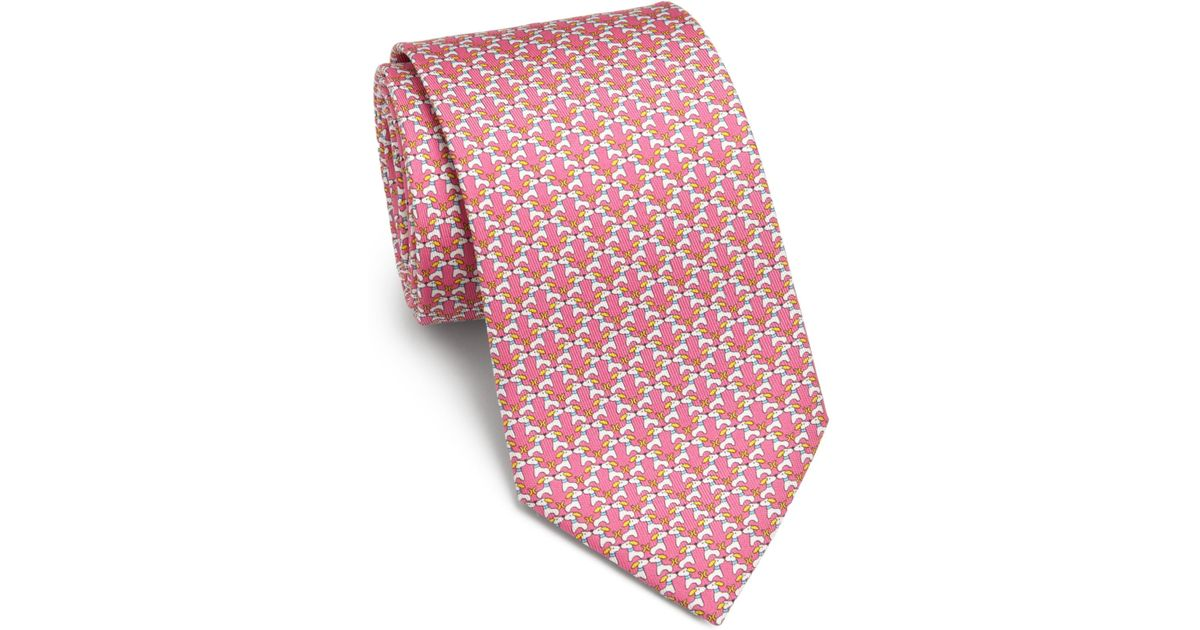 27ea5981ea41 Ferragamo Dog-print Silk Tie in Pink for Men - Lyst