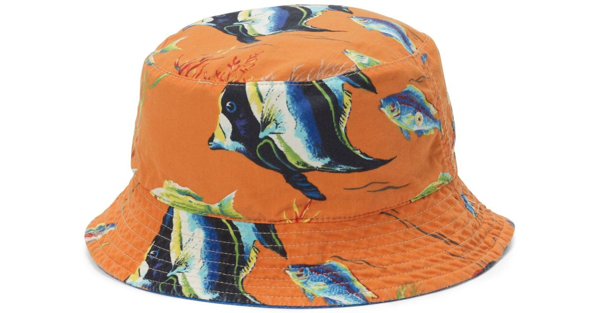 c084d586d77 Lyst - Polo Ralph Lauren Flamingo-print Reversible Bucket Hat in Blue for  Men