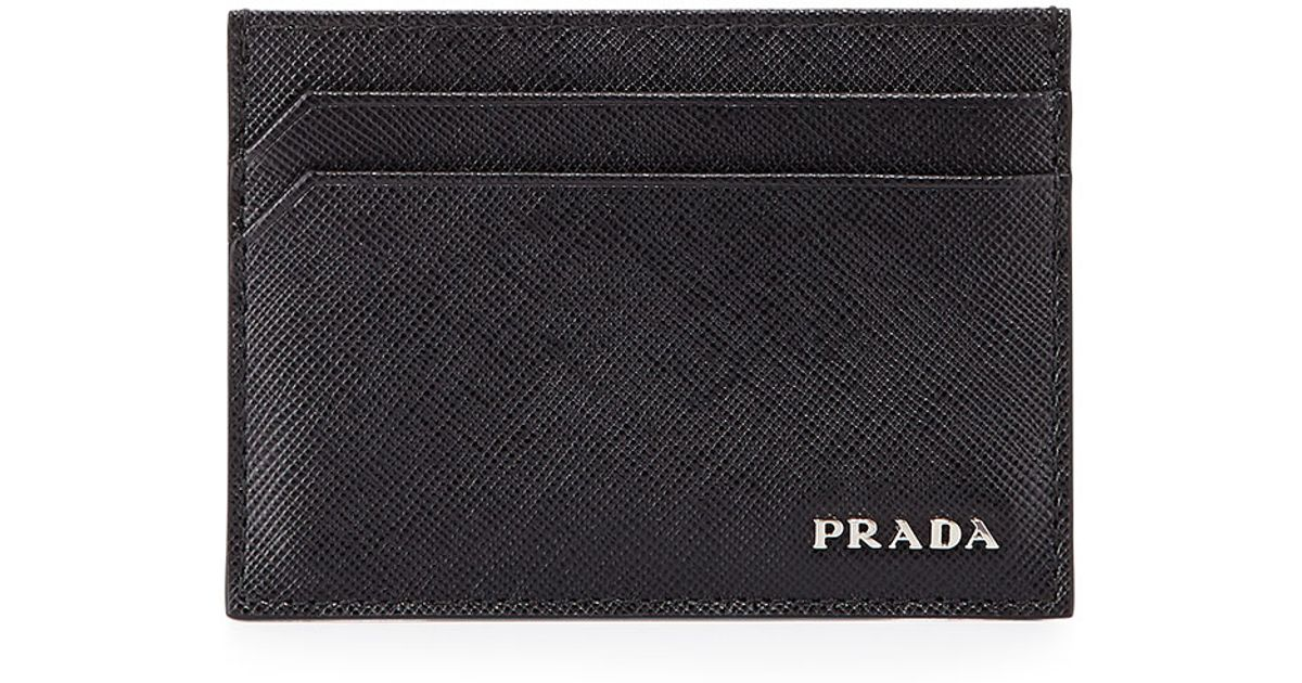 Lyst - Prada Textured Leather Card Case in Black for Men
