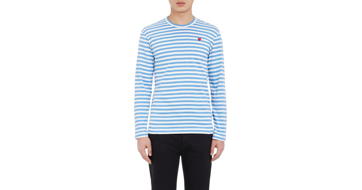 Play comme des gar ons men 39 s striped long sleeve t shirt for Blue and white striped long sleeve t shirt