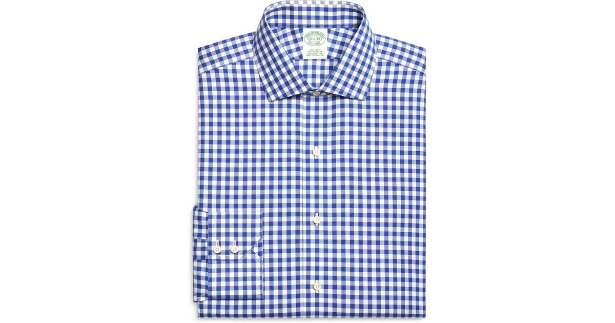 89239e7437 Brooks Brothers Non-iron Extra-slim Fit Gingham Dress Shirt in Blue for Men  - Lyst