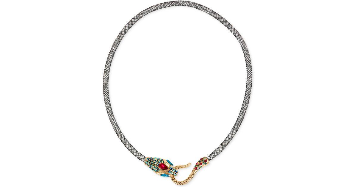 betsey johnson gold tone mesh snake collar
