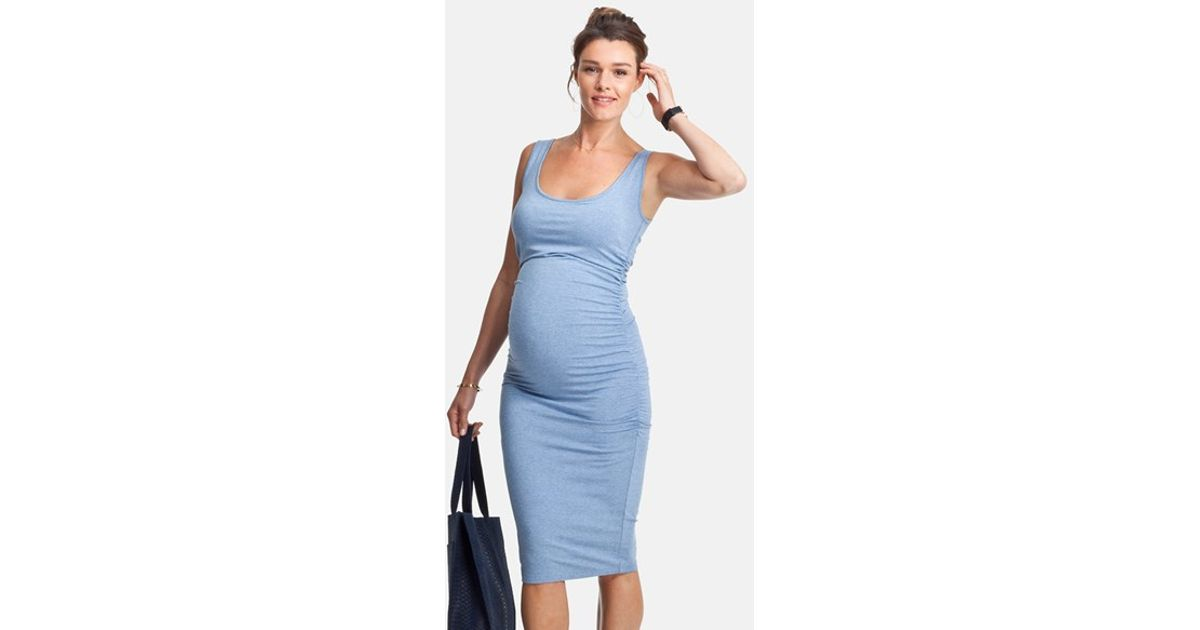 db955742985 Isabella Oliver  ellis  Ruched Side Maternity Tank Dress in Blue - Lyst