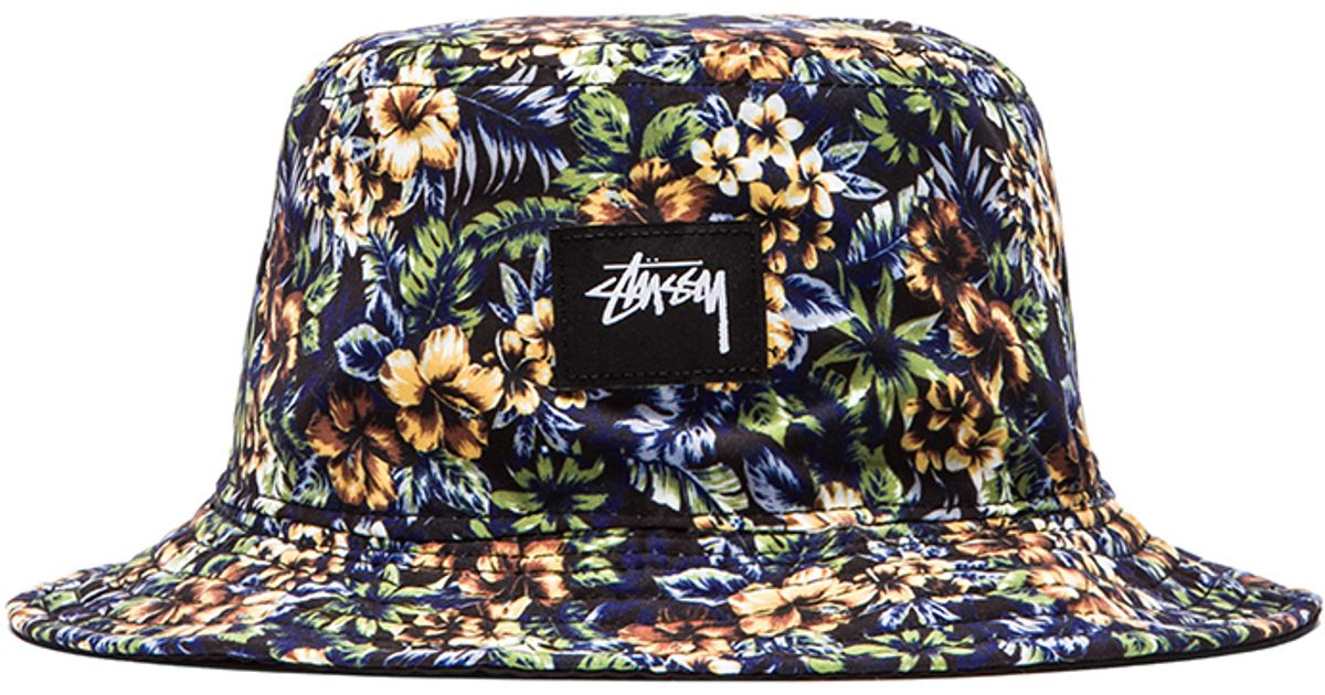 26124f93c63 ... wholesale lyst stussy island reversible bucket hat in black for men  a1f38 90e59