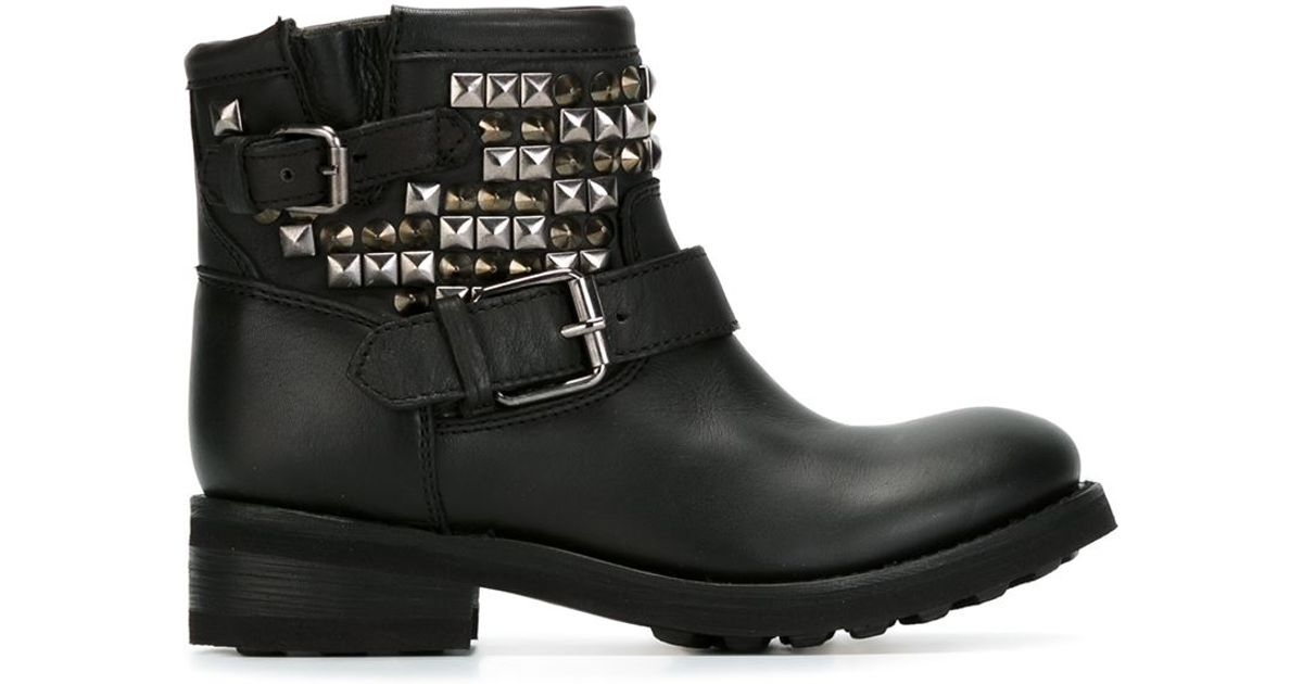 ash studded biker boots in black lyst