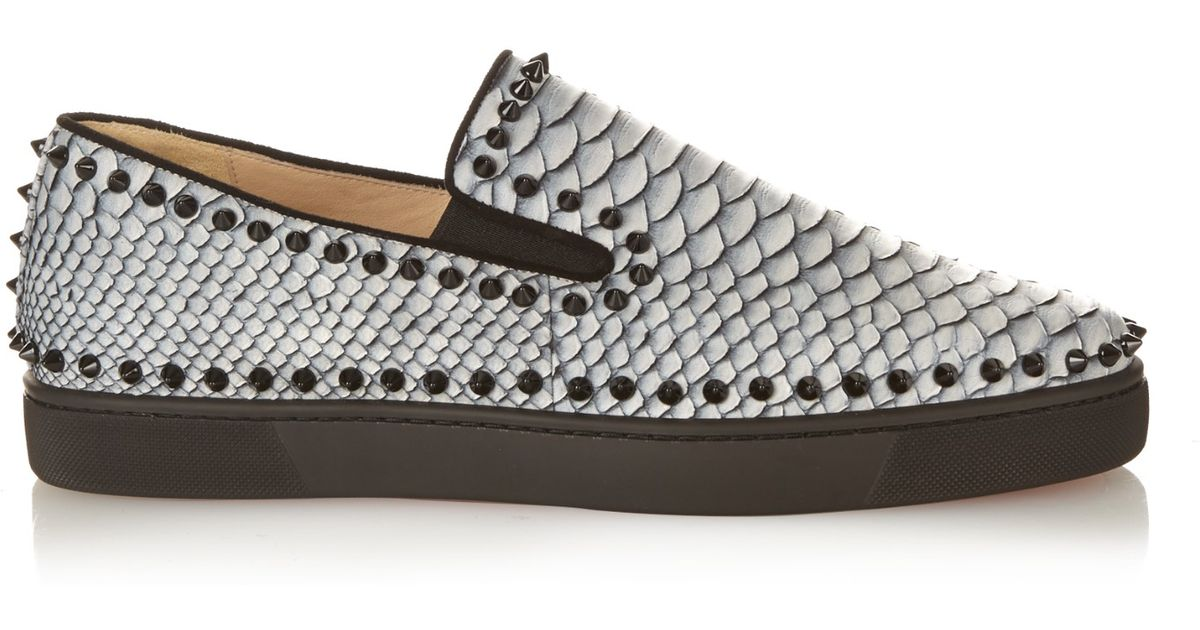 Pik Boat python slip-on trainers Christian Louboutin