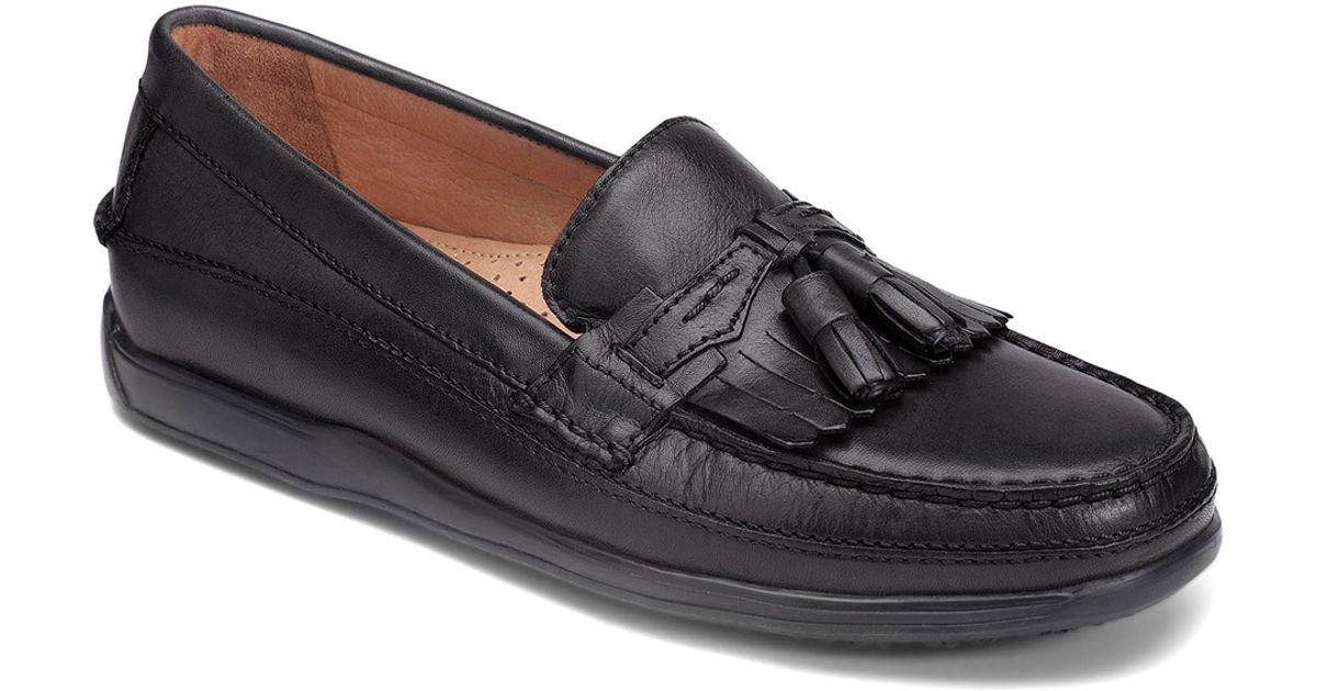 dockers sinclair slip on tassel loafer in black for lyst