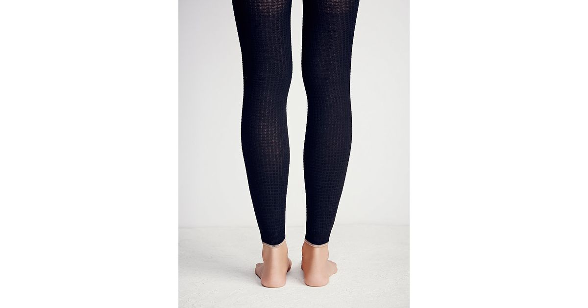 60b01990b3f0d Lyst - Free People Hansel From Basel Womens Wicked Waffle Footless Tight in  Black