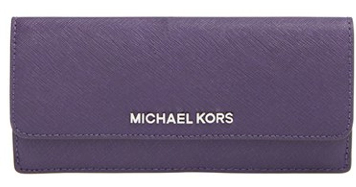 068c04e260814 Lyst - MICHAEL Michael Kors  flat Jet Set  Saffiano Leather Wallet - Purple  in Purple
