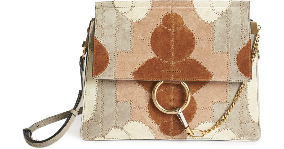 Chlo�� Faye Medium Floral Patchwork Suede Shoulder Bag in Brown ...