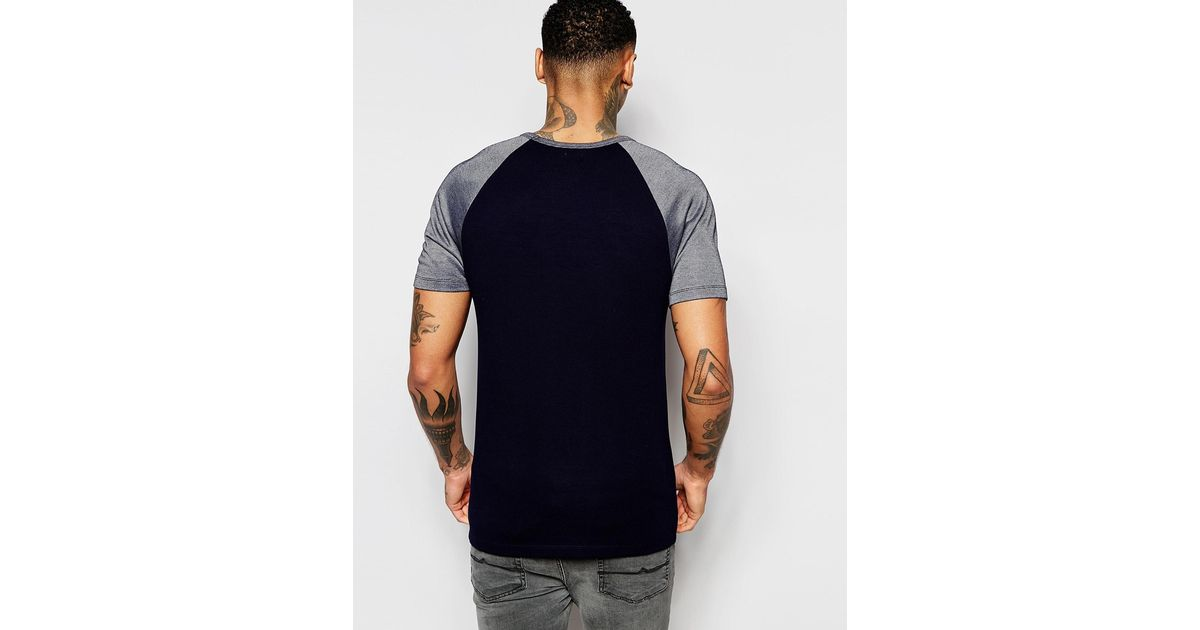 Lyst - Asos Muscle T-shirt With Contrast Raglan Sleeves In Reverse Indigo  in Blue for Men