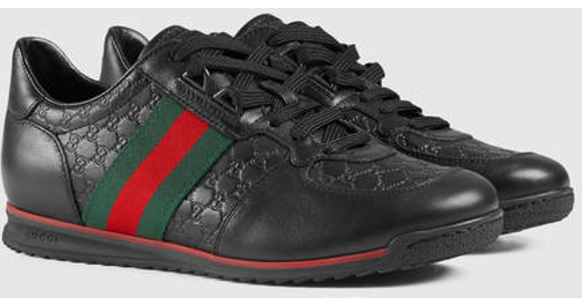 Gucci Sl73 Leather Lace Up Sneaker In Black Lyst