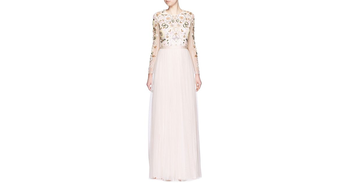 e1f1b5916395 Needle & Thread Floral Cluster Embellished Tulle Gown - Lyst