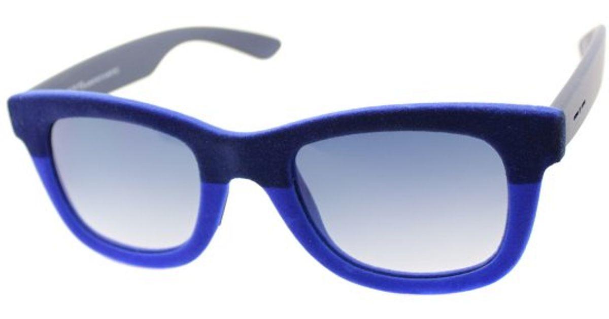 b67949a545bb Lyst - Italia Independent I-v It 0090v2 021 022 Dark Blue Blue Velvet  Square Plastic Sunglasses in Blue